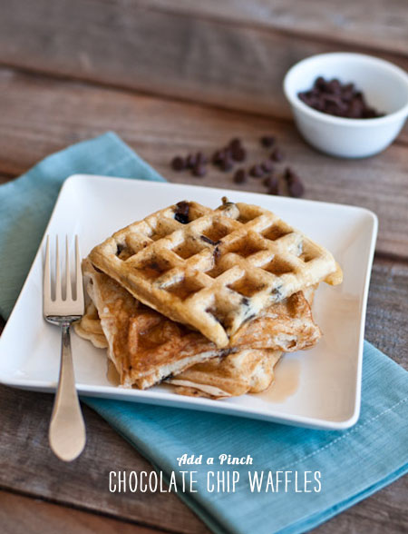 FoodieCrush magazine Chocolate Chip Waffles Add a Pinch