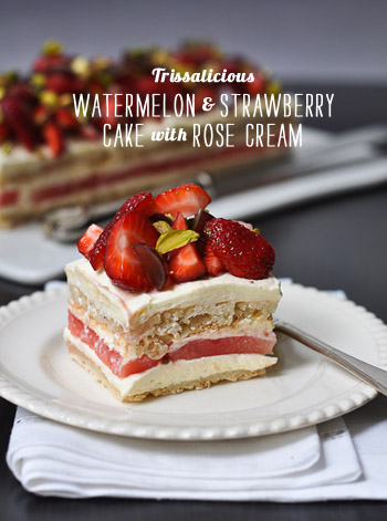FoodieCrush Magazine Trissalicious Watermelon & Strawberry Cake