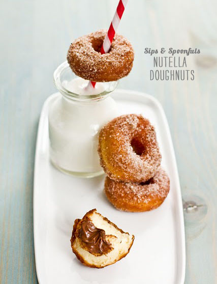 FoodieCrush magazine Sips and Spoonfuls Nutella Doughnuts