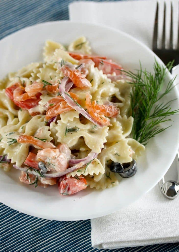 moked Salmon Pasta Salad from One Vanilla Bean on foodiecrush.com