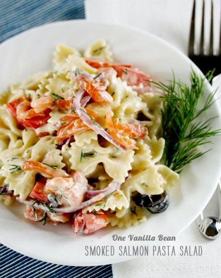 FoodieCrush Magazine One Vanilla Bean Salmon Pasta Salad