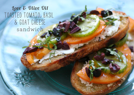 FoodieCrush Magazine Love &amp; Olive Oil Tomato Basil Sandwich