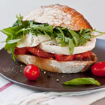 Caprese Sandwich with Arugula and Olive Spread