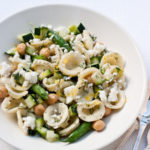 FoodieCrush Magazine Lemony Zucchini Pasta Salad with Beans