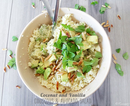 FoodieCrush Magazine Coconut and Vanilla Avocado and Couscous Salad