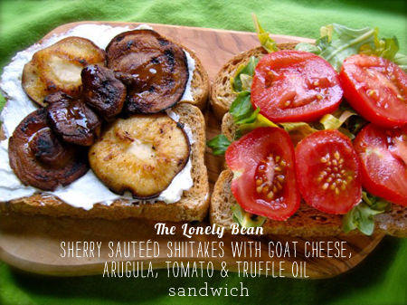 FoodieCrush Magazine The Lonely Bean Shiitake Mushroom Goat Cheese Tomato Sandwich