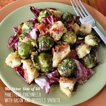 FoodieCrush Magazine The Other Side of 50 Panzenella with Bacon and Brussels Sprouts