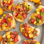 Peach & Tomato Bruschetta and a Little Pea Baby Shower