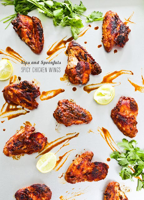 FoodieCrush magazine Sips &amp; Spoonfuls Spicy Chicken Wings