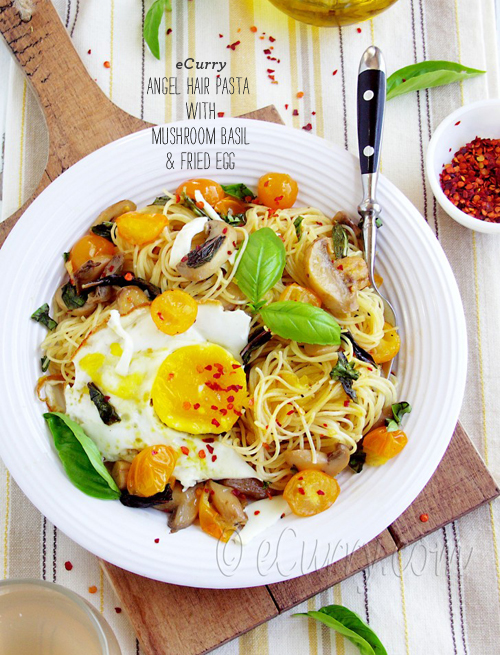 FOodieCrush Ecurry Basil Pasta with Egg