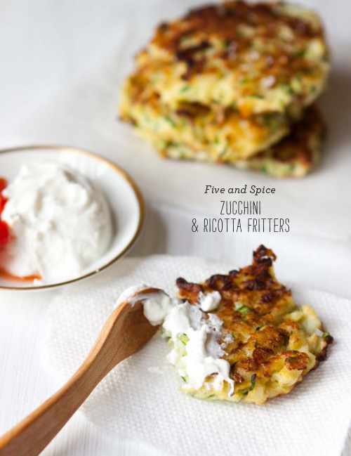 FoodieCrush Five and Spice Zucchini Ricotta Fritters