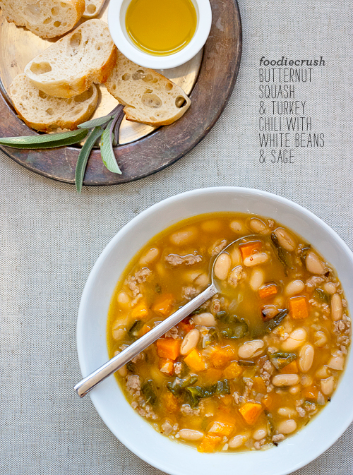 Roasted Butternut Squash and Turkey Chili with White Beans and Sage