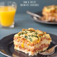 FoodieCrush Ham and Cheese Breakfast Casserole