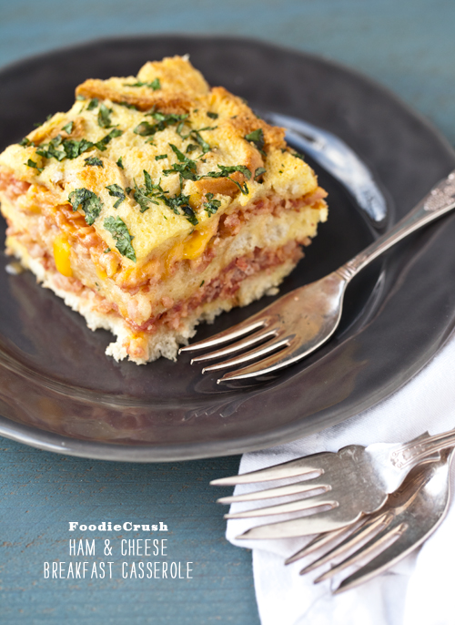 Ham and Cheese Egg Casserole | foodiecrush.com