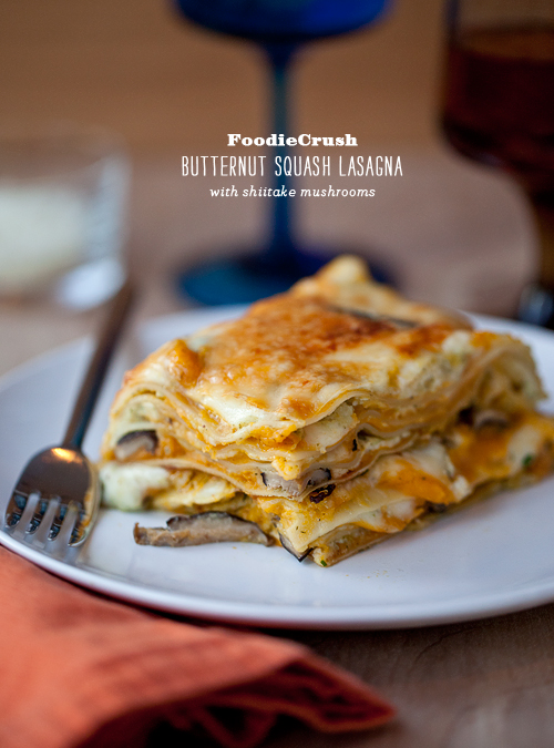 FoodieCrush Magazine Butternut Squash Lasagna with Shiitake Mushrooms