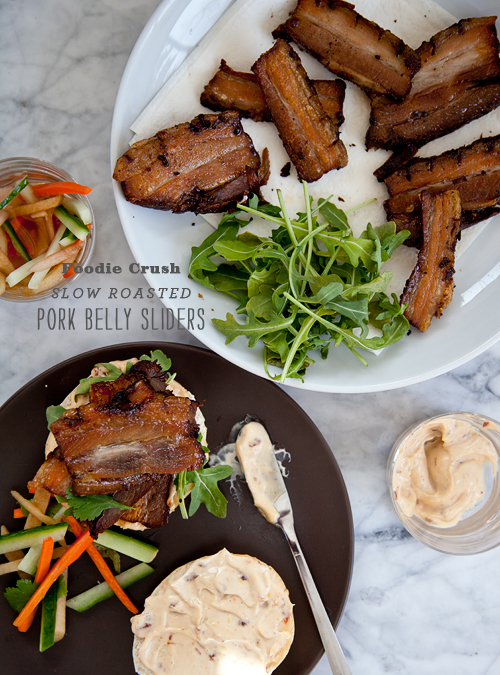 FoodieCrush Pork Belly Sliders