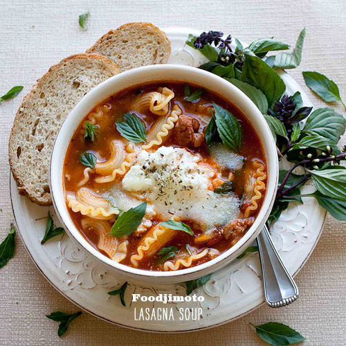 FoodieCrush Foodjimoto Lasagna Soup