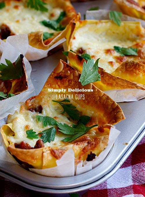 FoodieCrush Simply Delicious Lasagna Cups