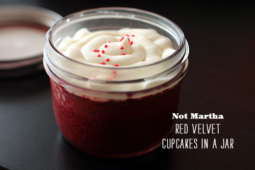 Foodie Crush magazine not Martha Red Velvet Cupcakes in a Jar