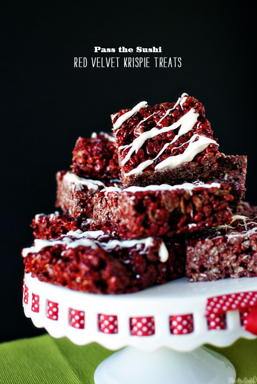 FOodie Crush magazine Pass the Sushi Red Velvet Krispy Treats