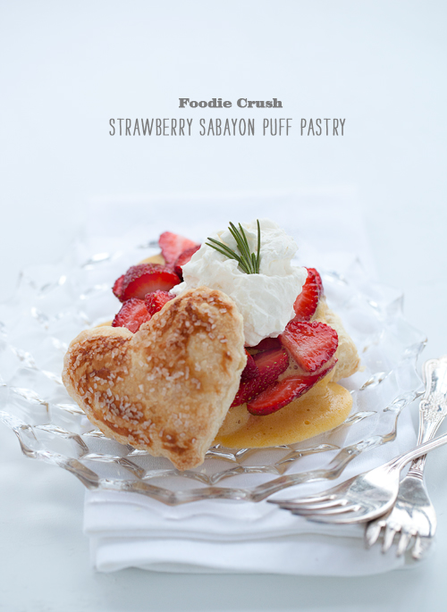 Foodie Crush Puff Pastry with Sabayon Custard and Strawberries