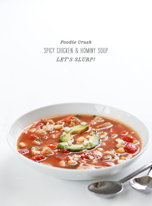 Foodie Crush Spicy Chicken and Hominy Soup
