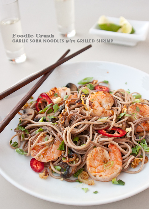 Garlic Soba Noodles with Grilled Shrimp