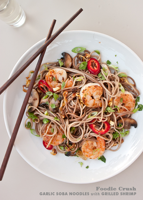 FoodieCrush Garlic Soba Noodles with Shrimp