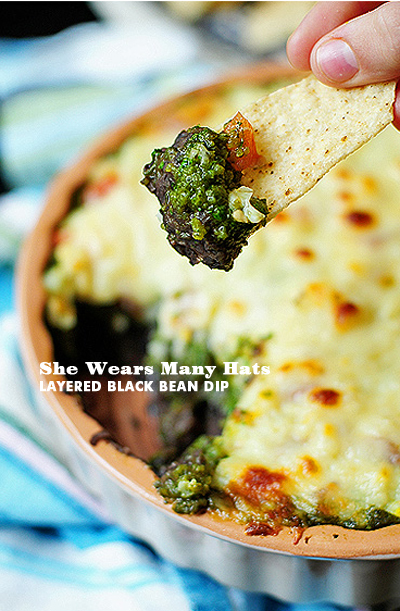 Foodie Crush She Wears Many Hats Layered Black Bean Dip