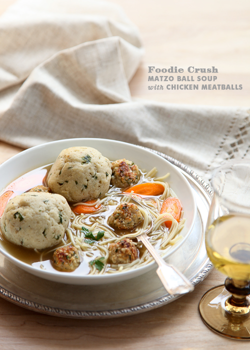 Foodie Crush Matzo Ball Soup with Chicken Meatballs