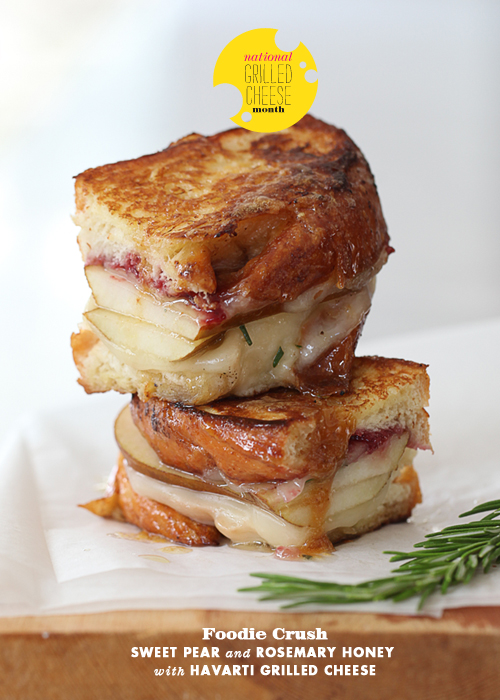 Post image for Craving > Sweet Pear and Rosemary Honey with Havarti Grilled Cheese