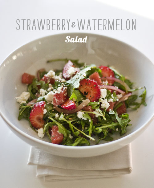 Foodie Crush Watermelon and Strawberry Feta Salad