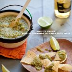 Foodie Crush Roasted Tomatillo and Green Olive Salsa