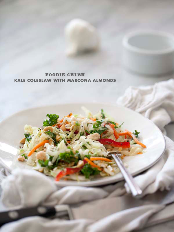 Foodie Crush Kale Coleslaw Salad with vinaigrette
