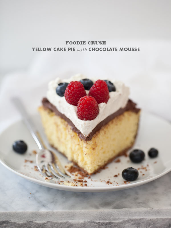 Yellow Cake Pie with Chocolate Mousse and Berries