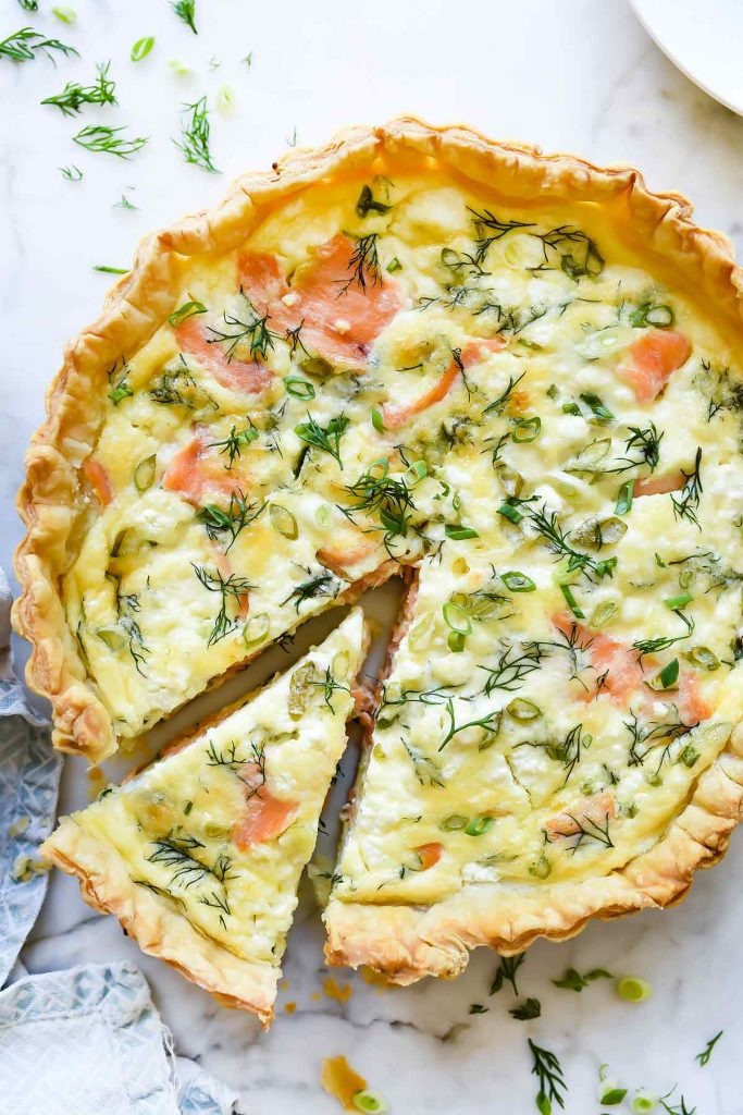 Puff Pastry Salmon and Goat Cheese Quiche | foodiecrush.com