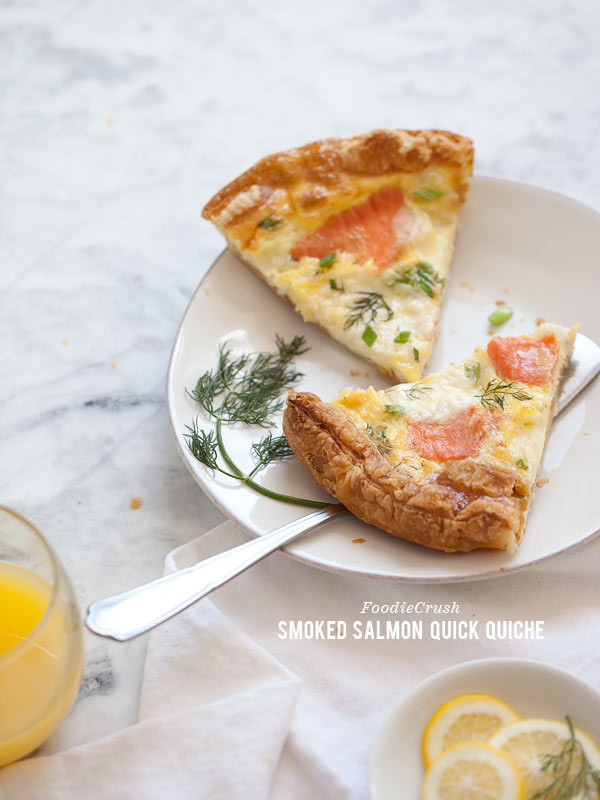 Smoked Salmon Quick Quiche from FoodieCrush