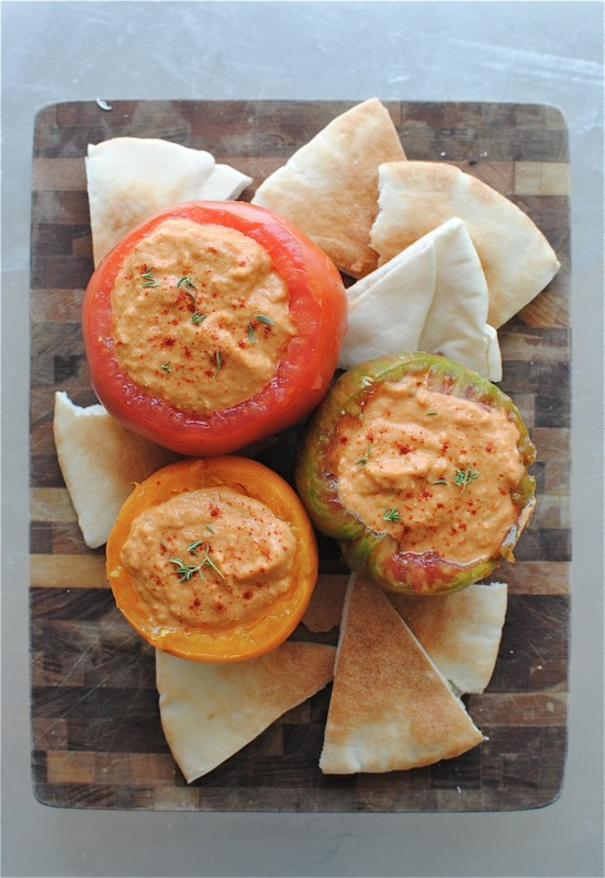 Roasted Tomato Hummus from Bev Cooks on foodiecrush.com