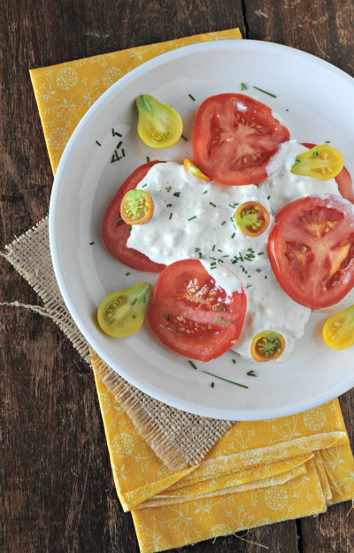 Blue Cheese Dressing and Heirloom Tomatoes from Mountain Mama Cooks on foodiecrush.com