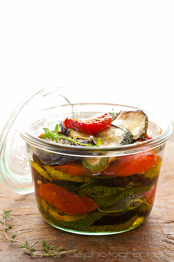 Marinated Roasted Eggplant, Zucchini and Tomatoes with Garlic and Thyme from Gourmande In the Kitchen on foodiecrush.com