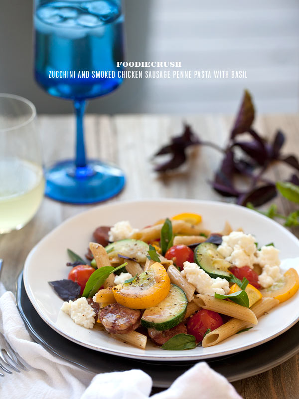 Zucchini and Smoked Chicken Sausage Penne Pasta with Basil
