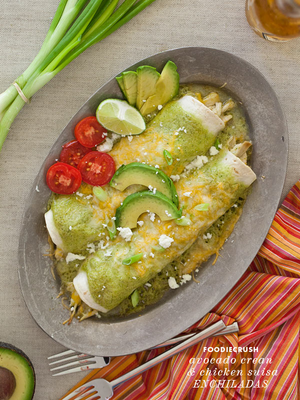 Avocado Cream Chicken Suisa Enchilada from FoodieCrush