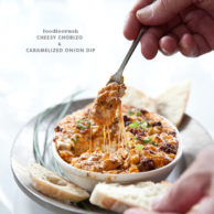Cheesey Chorizo Caramelized Onion Dip | FoodieCrush.com