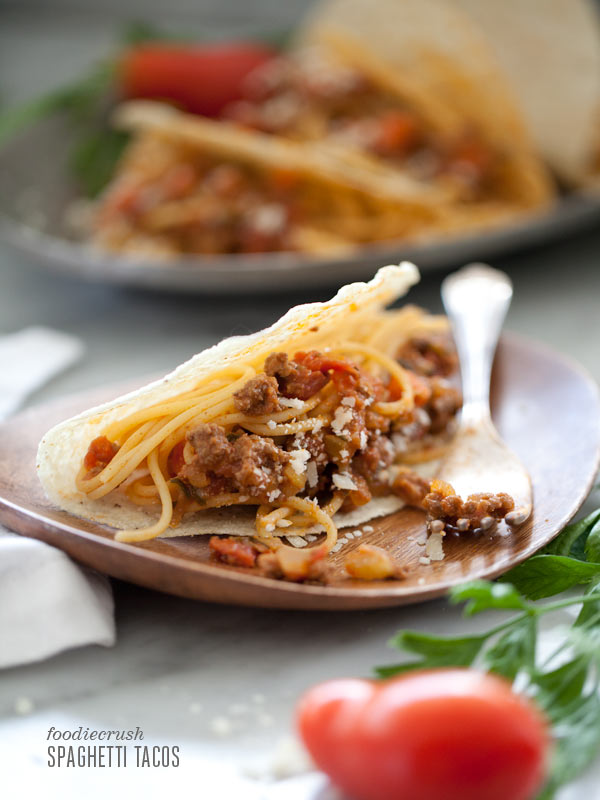 Spaghetti Tacos Inspired by iCarly from FoodieCrush