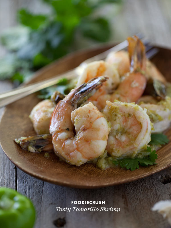 Tasty Tomatillo Shrimp Recipe from FoodieCrush