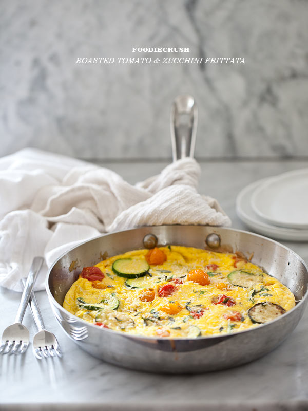 Roasted Tomato Zuchinni Frittata from FoodieCrush.com