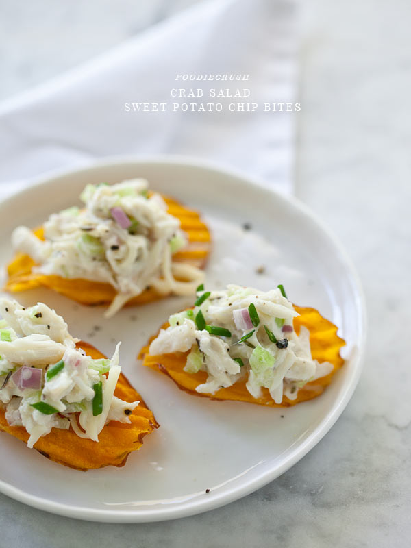 Crab Salad Sweet Potato Chip Bites and a Virtual Baby Shower