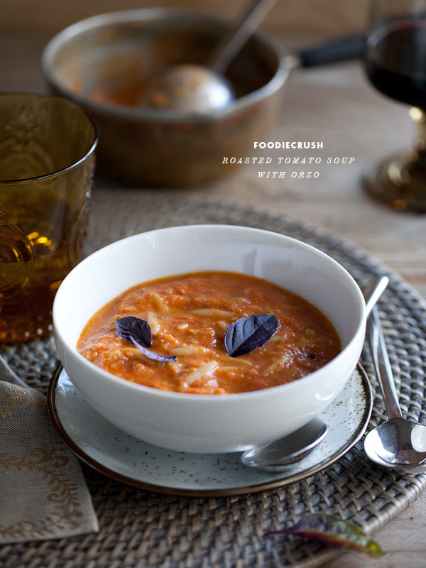 Tomato Basil Orzo Soup from FoodieCrush.com