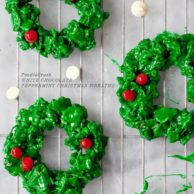 White Chocolate Peppermint Christmas Wreath Cookies from foodiecrush.com
