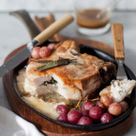 Stuffed Pork Chops with Roasted Grapes